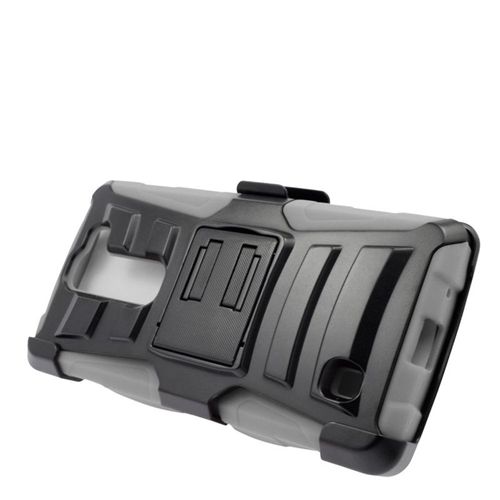 Insten Dual Layer Hybrid Stand PC/Silicone Holster Case Cover Compatible With LG Volt 2, Black/Gray
