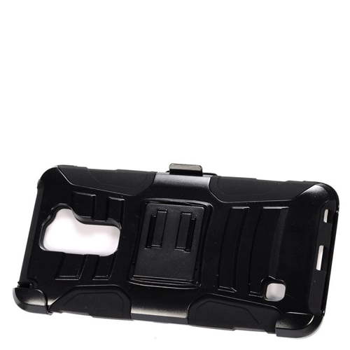 Insten Dual Layer Hybrid Stand PC/Silicone Holster Case Cover Compatible With LG Stylus 2, Black