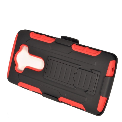 Insten Car Armor Hybrid Stand PC/Silicone Holster Case For LG V10, Black/Red