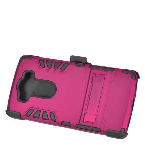 Insten Hybrid Stand Rubberized Hard PC/Silicone Holster Case For LG V10, Hot Pink/Black