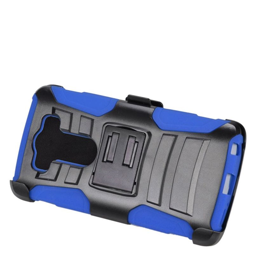 Insten Dual Layer Hybrid Stand PC/Silicone Holster Case Cover Compatible With LG V10, Black/Blue