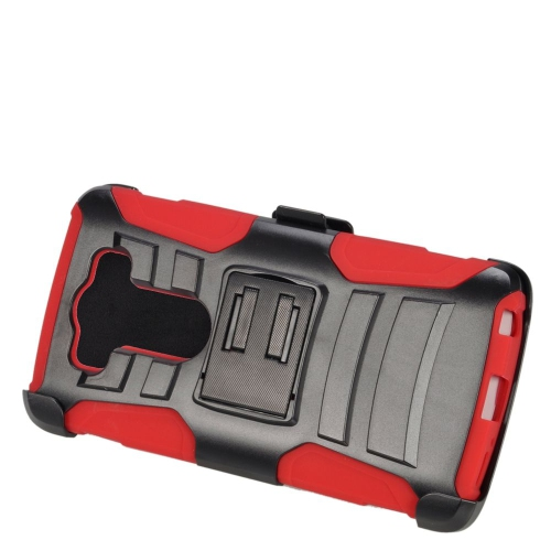 Insten Dual Layer Hybrid Stand PC/Silicone Holster Case Cover Compatible With LG V10, Black/Red