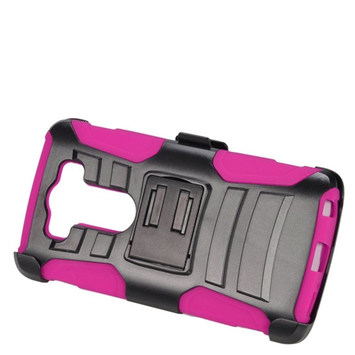 Insten Dual Layer Hybrid Stand PC/Silicone Holster Case Cover Compatible With LG V10, Black/Hot Pink