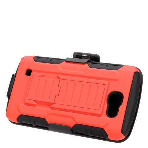 Insten Car Armor Hybrid Stand PC/Silicone Holster Case For LG Optimus Zone 3/Spree, Red/Black