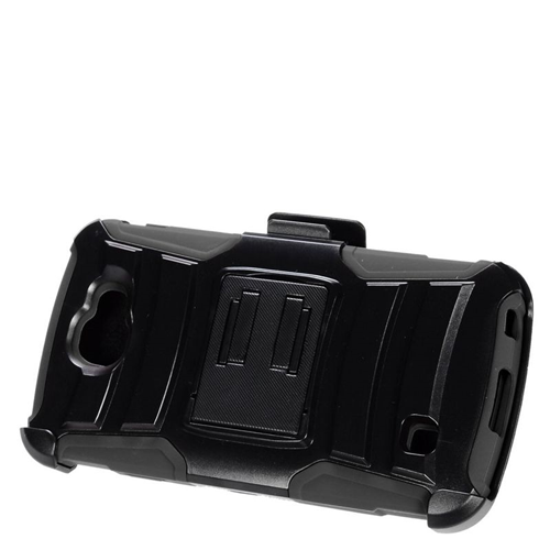 Insten Hybrid Stand PC/Silicone Holster Case For LG Optimus Zone 3/Spree, Black