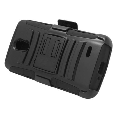 Insten Hybrid Stand PC/Silicone Holster Case For LG Lucid 3 VS876, Black