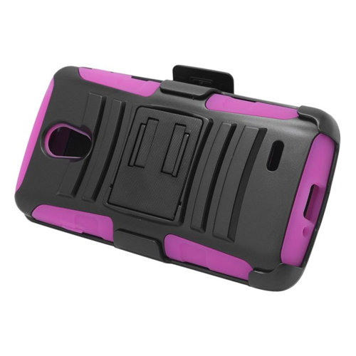 Insten Hybrid Stand PC/Silicone Holster Case For LG Lucid 3 VS876, Black/Hot Pink
