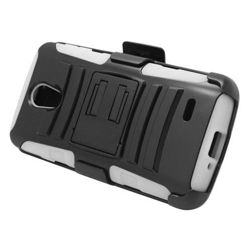 Insten Hybrid Stand PC/Silicone Holster Case For LG Lucid 3 VS876, Black/White
