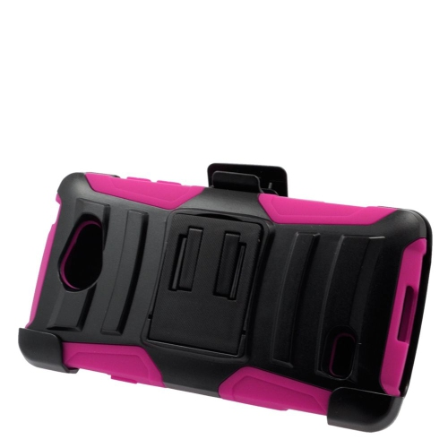 Insten Hybrid Stand PC/Silicone Holster Case For LG Lancet VW820, Black/Hot Pink