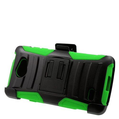 Insten Hybrid Stand PC/Silicone Holster Case For LG Lancet VW820, Black/Green