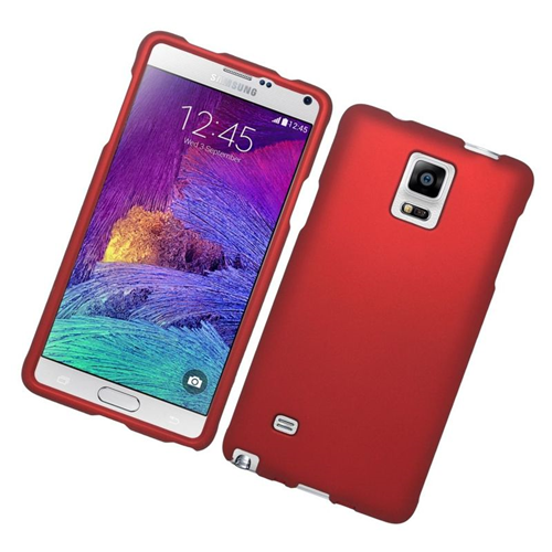 Insten Rubberized Hard Snap-in Case Cover Compatible With Samsung Galaxy Note 4, Red