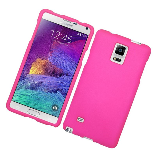 Insten Rubberized Hard Snap-in Case Cover Compatible With Samsung Galaxy Note 4, Hot Pink