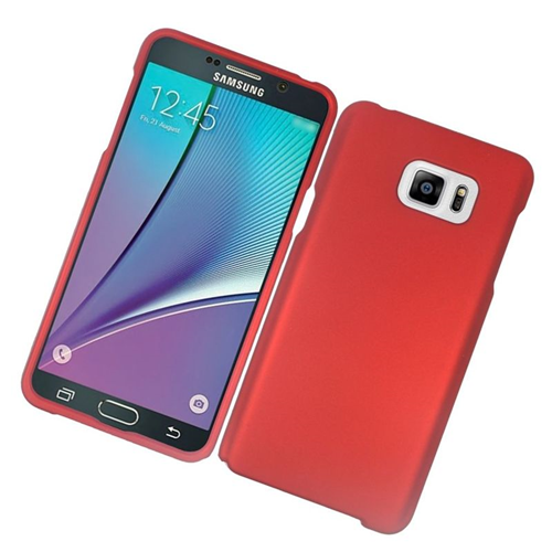 Insten Rubberized Hard Snap-in Case Cover Compatible With Samsung Galaxy Note 5, Red