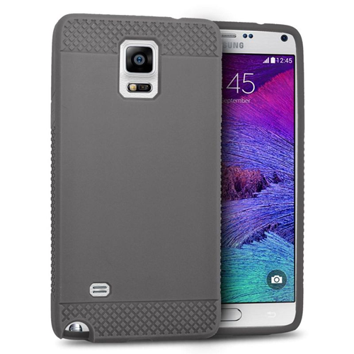 Insten TPU Rubber Candy Skin Case Cover Compatible With Samsung Galaxy Note 4, Gray