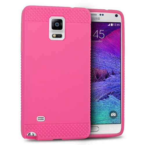 Insten TPU Rubber Candy Skin Case Cover Compatible With Samsung Galaxy Note 4, Hot Pink