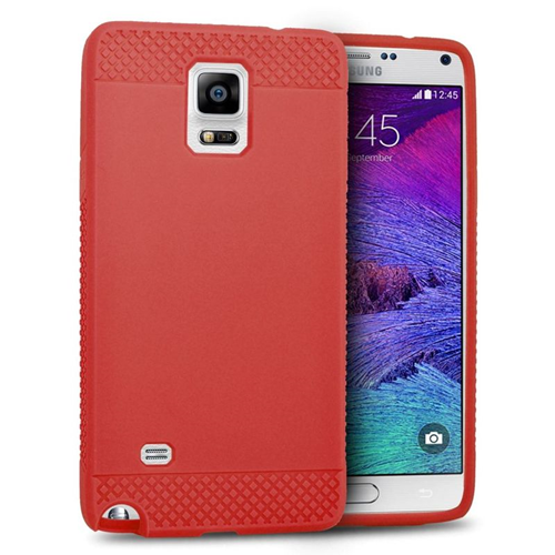 Insten TPU Rubber Candy Skin Case Cover Compatible With Samsung Galaxy Note 4, Red
