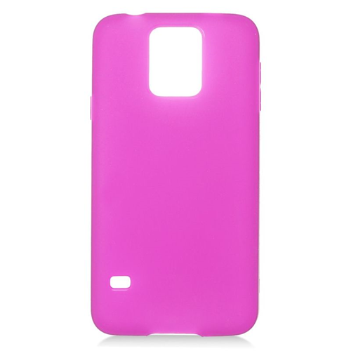 Insten TPU Rubber Candy Skin Case Cover Compatible With Samsung Galaxy S5 SM-G900, Hot Pink