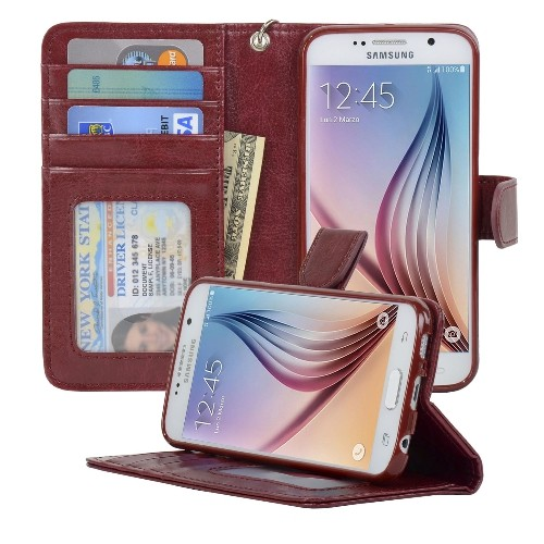 Navor Samsung Galaxy S6 Wallet Folio Leather Life Protective Case with Card Pockets & Money Slot, Removable Strap - Maroon
