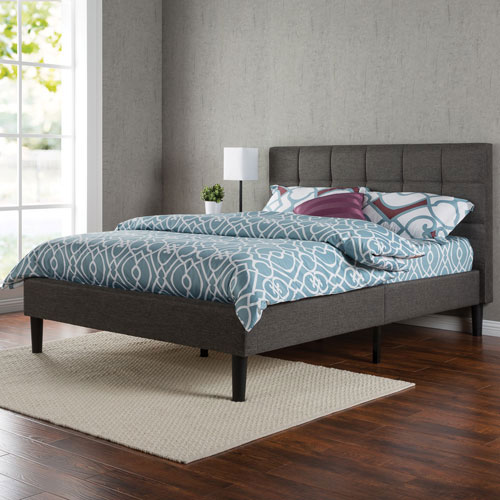 Zinus Contemporary Upholstered Platform Bed Queen Grey