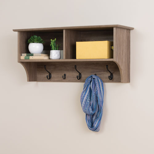 40 Wide Hanging Entryway Shelf Drifted Grey Wall Mounted Coat Magnificent Wall Coat Rack Canada