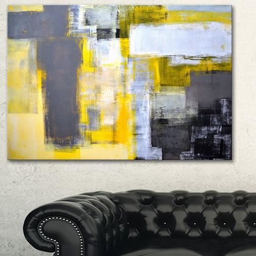 Grey and Yellow Blur Abstract - Abstract Canvas Art Print : Wall Art ...