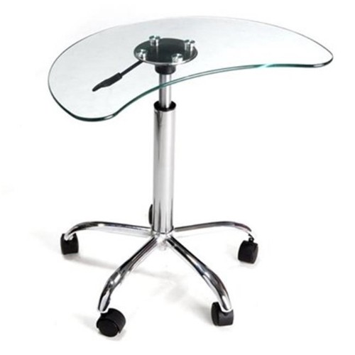 RTA Home and Office LT-020 Clear Glass and Aluminum Laptop Stand with Casters