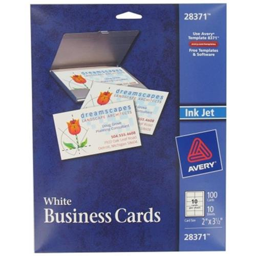 Avery 100 count white ink jet printer business cards 28371 pack of avery 100 count white ink jet printer business cards 28371 pack of 5 online only reheart Gallery