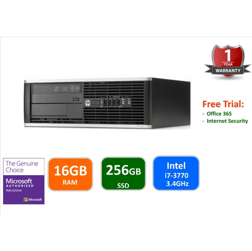 HP Elite 8300 SFF, Intel i7-3770-3.4 GHz, 16GB Ram, 256GB SSD Drive, DVDRW, Windows 10 Pro , 1Year warranty , Refurbished