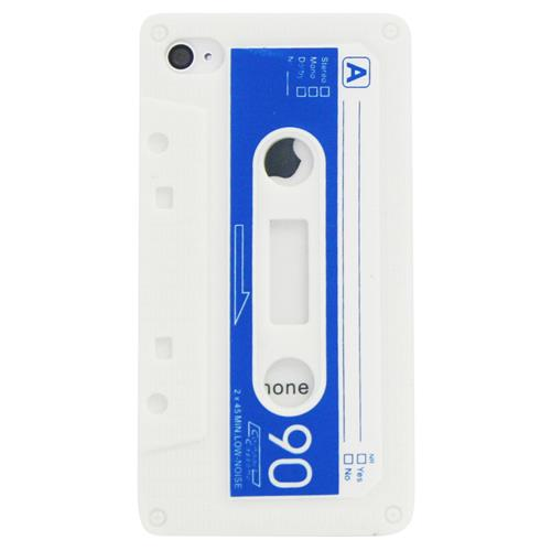 Exian iPhone 4/4S Silicone Case Cassette Tape White