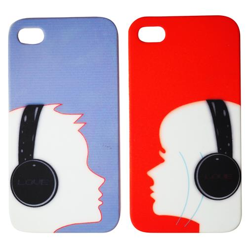 Exian iPhone 4/4S Hard Plastic Couple Case Boy & Gilr with Headphones Blue and Red