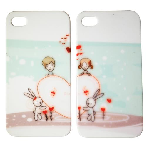 Exian iPhone 4/4S Hard Plastic Couple Case Heart with Bunnies