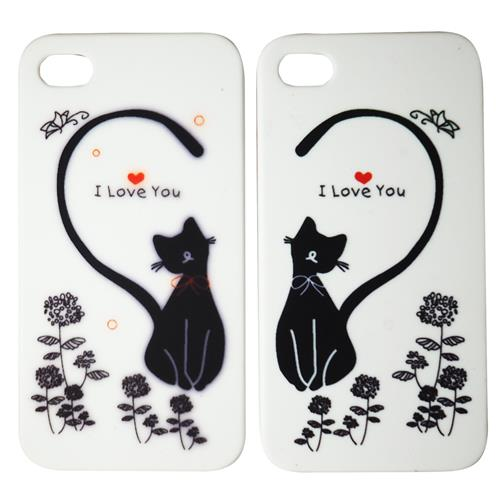 Exian iPhone 4/4S Hard Plastic Couple Case Cats with Heart
