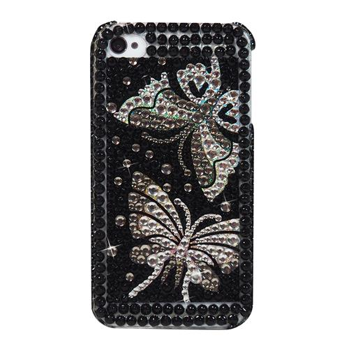 Exian iPhone 4/4S Hard Plastic Case with Rhine Stones with 2 Silver Butterflies Black