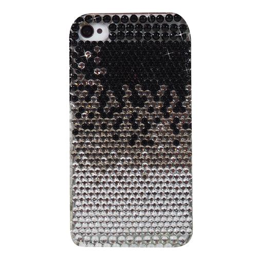 Exian iPhone 4/4S Hard Plastic Case with Rhine Stones Black/Silver