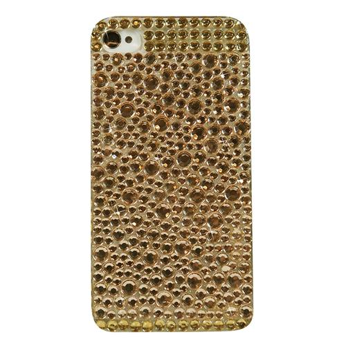 Exian iPhone 4/4S Hard Plastic Case with Rhine Stones Gold