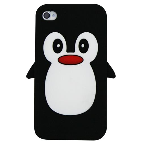 Exian iPhone 4/4S Silicone Case Penguin Black
