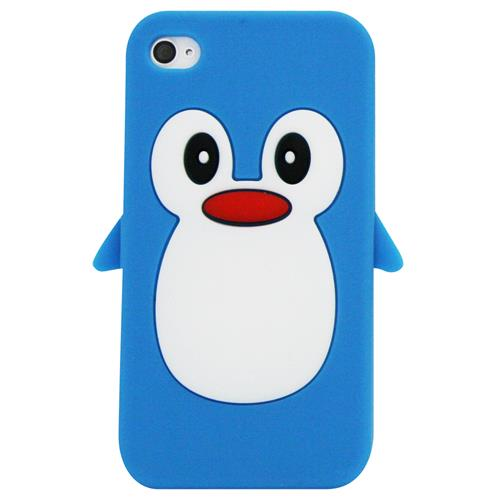 Exian iPhone 4/4S Silicone Case Penguin Blue