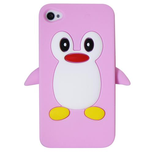 Exian iPhone 4/4S Silicone Case Penguin Pink