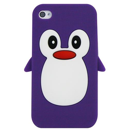 Exian Fitted Soft Shell Case for iPhone 4S;iPhone 4 - Purple