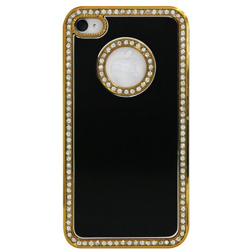 Exian iPhone 4/4S Hard Plastic Case Brushed Metallic and Rhine Stones Black