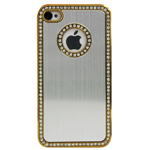Exian iPhone 4/4S Hard Plastic Case Brushed Metallic and Rhine Stones Silver