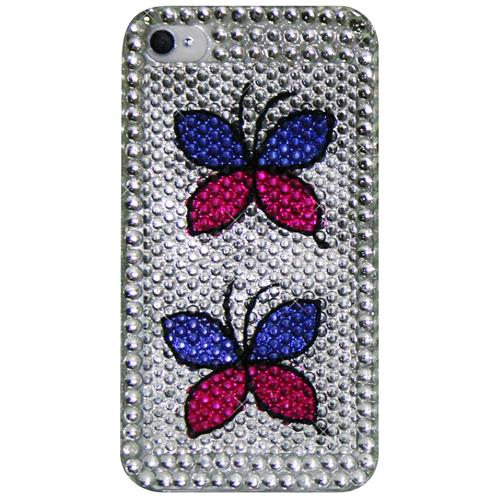 Exian iPhone 4/4S Hard Plastic Case Rhine Stones with Butterflies Silver