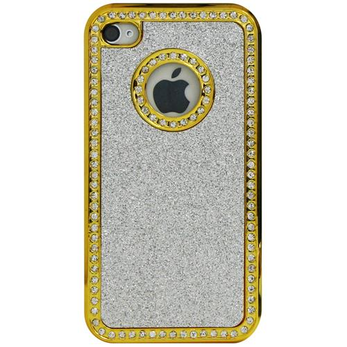 Exian iPhone 4/4S Hard Plastic Case Sparkling and Rhine Stones Silver