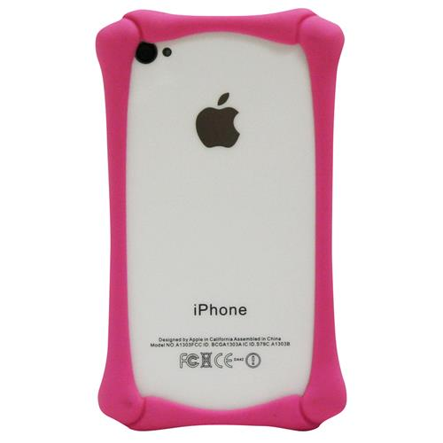 Exian iPhone 4/4S Silicone Bone Shaped Bumper Pink