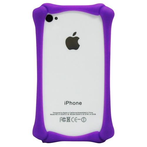 Exian iPhone 4/4S Silicone Bone Shaped Bumper Purple