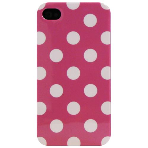 Exian iPhone 4/4S TPU Case Polka Dots Pink