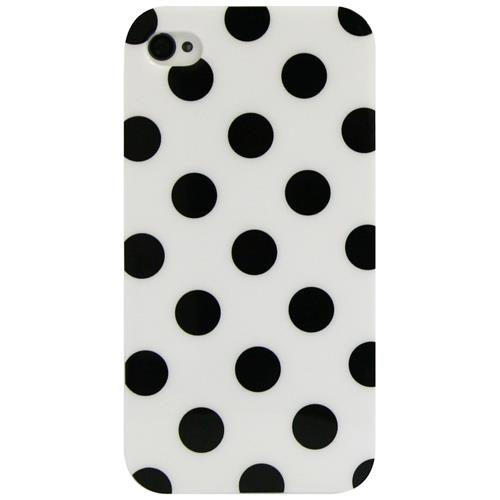 Exian iPhone 4/4S TPU Case Polka Dots White