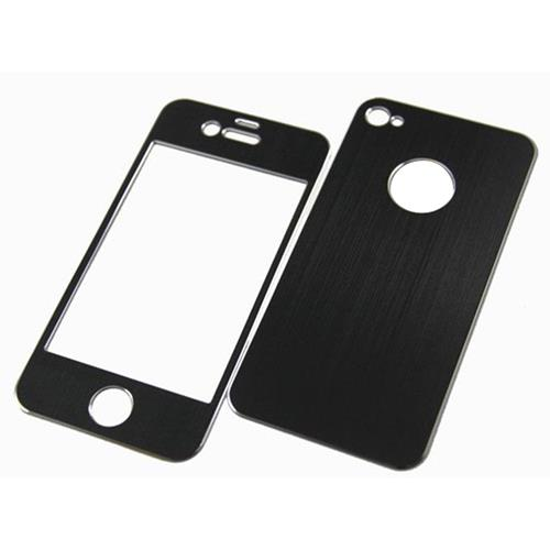 Exian iPhone 4/4S Brushed Metallic Case Front & Back Cover Black