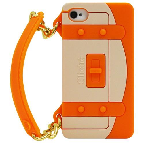 Exian Fitted Soft Shell Case for iPhone 4S;iPhone 4 - Orange