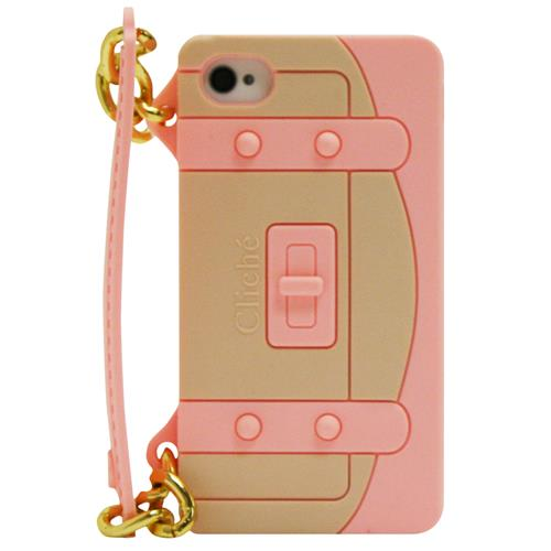 Exian iPhone 4/4S Silicone Case Handbag Shape Pink